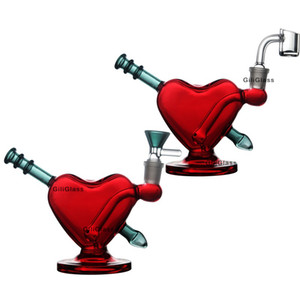 agua corazón rojo regalo de San Valentín Bong DAB plataforma bongs de vidrio de tubos con plataformas petroleras cuenco de cuarzo hierba cacharro burbujeador Hookah accesorios de fumar