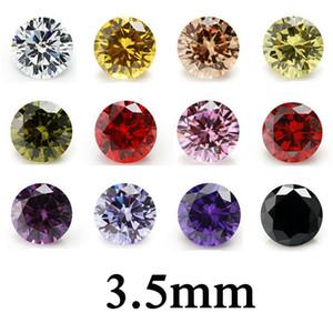 100pcs  bag 3.5mm round cut 5A loose zircon beads gem hig quality cubic DIY VVS loose gemstones findings wholesale 12 colors available