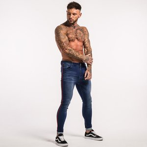 Negro de la cremallera de diseño para hombre de la calle Jean primavera Hiphop Jeans pantalones a rayas Pantalón ajustado
