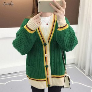 Woman Sweater Cardigan Contrast Color Knitted Coat Long Sleeve V Neck Jacket Regular Korean Causal Plus Size Cardigans 36412