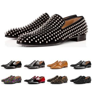 Hot venda- inferior Designer Red Bottoms Studded Spikes Mens vestido sapatos de couro Men Wedding Party Sneakers Sports