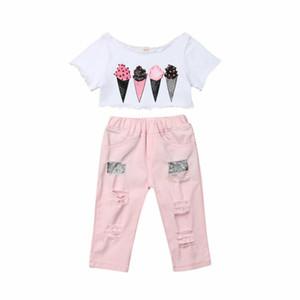 1-5Y infantil de la niña de Kid Ice Cream camiseta destrozado a pantalones ropa del verano de los niños traje