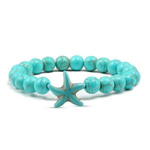 Envío de la gota de piedra natural Turquoises Beads Pulseras Star Starfish Charm Bracelet Brazalete para mujeres hecho a mano DIY pulsera hombres