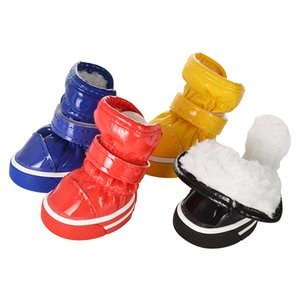 4pcs set Pet Dog Shoes Winter Warm Dog Snow Boots PU Leather Shoes For Small Dogs Chihuahua Waterproof Anti Slip Puppy Pet Shoes