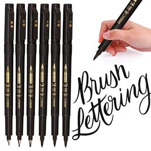 4 tamaños Nibs caligrafía pluma cepillo letras plumas conjunto flexible recarga cepillo marcadores Set para escribir dibujos DIY diario