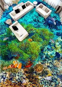 3D de alta qualidade Flooring Wallpaper Marinha algas Vinyl Flooring impermeável auto-adesiva Foto Wallpapers
