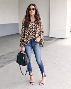 Luxury Designer 2020 Elegant Leopard Flare Sleeve Women Blusas Shirt slash neck Long Chiffon Ladies loose Blouse Top quality