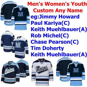 Maine Negro lleva los jerseys para hombre Jimmy Howard Jersey Paul Kariya Rob Michel Caza Pearson Hockey sobre hielo universitario jerseys cosido personalizada