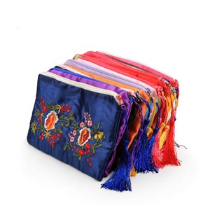 Favor de bordado doble rectángulo de la cremallera bolsas de monedas partido del monedero de empaquetado del regalo del satén de la borla de las mujeres bolsos monederos teléfono celular 10pcs / lot