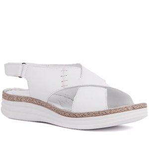 Sail-Lakers Couro Mulheres Sandálias do verão confortável causais Sapatos Mulher Peep Toe plataforma inferior Moda Mãe Ladies Sandals Tamanho 36-40