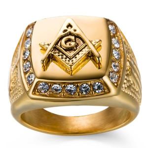 Anelli massonici d'annata dei gioielli dell'anello dell'anello dell'acciaio inossidabile 18K del massone della fascia massonica 18K da trasporto libero