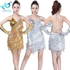 Costume paillettes Latin Dance Jazz Performance Show Sparkle Dress Fringe per Ballroom Salsa Rumba Dance Competition partito