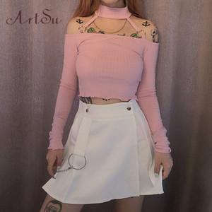 ArtSu Pink Black T shirt Off the Shoulder Tops for Women Sexy Long Sleeve Crop Top Basic Tee Shirt Femme Autumn ASTS21183 T200525