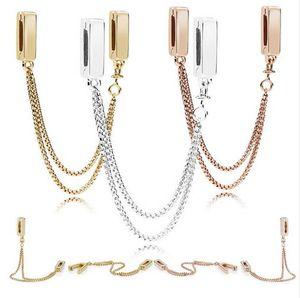 2018 Nuovi riflessi Catene galleggianti Catena di sicurezza Fascino 100% 925 Perline in argento sterling Misura bracciale Pandora Regalo Gioielli fai da te