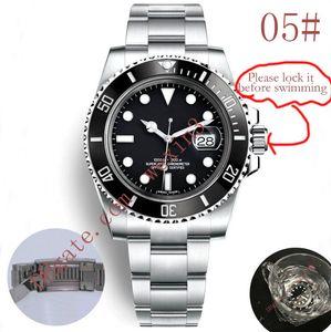 20 colores Relojes de lujo Verde Negro Bisel de cerámica Dial 40 mm 2813 Pulsera automática de acero inoxidable Glide Lock Broche impermeable Reloj de hombre