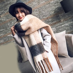 Winter Thick Warm Scarf New Autumn Women Patchwork Cashmere Scarves With Tassel Wide Lattices Long Shawl Wrap Tippet