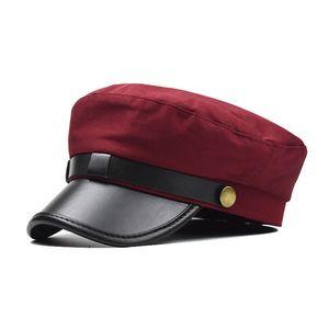 Женской шляпа PU кожа плоской крышки берет хлопок дикого дышащий уток язык восьмиугольная шляпа женщина Британская кожа пряжка