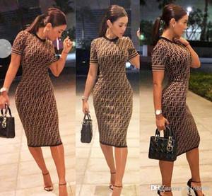 Casual elegante vestido ajustado de verano vestidos de mujeres de cuello redondo Carta de manga corta impresión del partido del vestido mini vestido del lápiz de Brown