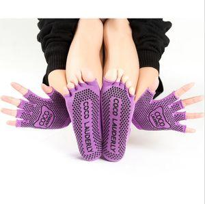 DHL Shipping! Esporte Yoga Meias Mulheres antiderrapante Yoga Toe dedo SocksGloves Conjunto completo Socks esporte Dança Pilates Dança FY6143 Wear