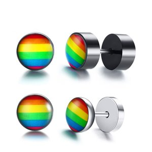 Stud earrings lgbtq accessories stainless steel Round dumbbell shape rainbow earrings for women men fashion jewelry