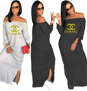 Les femmes à manches longues été robe designer Mid-Calf une pièce robe haute qualité jupe skinny élégant hors épaule clubwear vente chaude klw1562