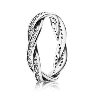 Damen 925 Sterling Silber CZ Diamant RING Set Original Box für Pandora Luxury Fashion Wicklung Hochzeit Geschenk Ring