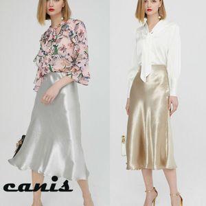 Neuer Frauen-Mode Röcke mit hoher Taille Silky Mittel Long Term Röcke glatt Sliver Sommer-Rock-Damen ausgestelltem Rock