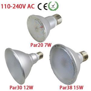 DHL SHIP IP65 étanche PAR20 PAR30 PAR38 LED E27 110V-240V 7W 12W 15W Dimmable LED lampe de plafond Lumières Ampoule Spot