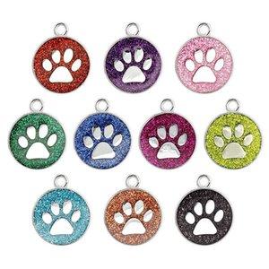 Mode Pet Paw Kawaii argent ronde Charms Glitter Dog de patte de chat Pendentif en alliage Glitter Charm pendentif pour le bricolage Bracelets Collier