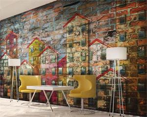 3d Ev Wallpaper Kişiselleştirilmiş Evi Red Brick Arkaplan Duvar Salon Yatak odası Arkaplan Duvar İpek Duvar Duvar Kağıdı