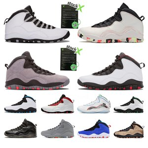 Nike air jordan 10 10s Clase de 2006 zapatos de baloncesto baratos para hombre 10s Cemento Westbrook Estoy de regreso hombres gris acero zapatillas zapatillas 10 calzado deportivo tamaño 8-13