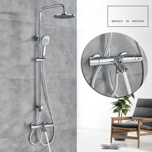 """밝은 크롬 온도 조절 식 샤워 믹서 수도꼭지 듀얼 핸들링 Rainfall Bath Shower Set 8 """"Rainfall Shower 믹서 탭 벽걸이 탭"""