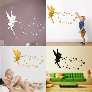 One set fairy blow stars mirror wall sticker childrens room decor bedroom decals 3D wall sticker decor