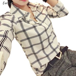 New Fashion Womens Clothing Womens Long Sleeve White Shirts Plaids Pattern Polyester Lapel Casual Blouse Tops Drop Shipping