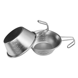 Открытый нержавеющей стали Складной чаша для пикника Барбекю Mountain Cup Climbing воды кемпинга Портативный Плита Instant Лапша Посуда Пот