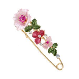 Дизайнер броши Кристалл цветок безопасности декоративные булавки брошь клип Застежка Pin для одежды шарфы Шаль кнопки для женщин ювелирные изделия