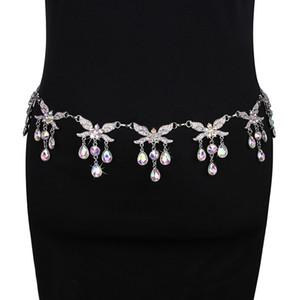 Donne strass catena di lusso Cintura Danza del ventre gioielli catena Belly Dance Accessori Argento Designer Cinture di regalo del metallo vita
