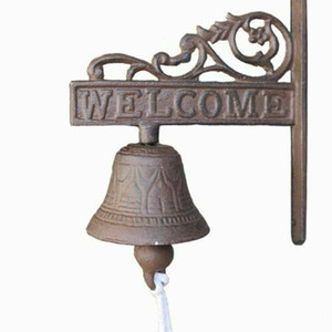 1pc Jahrgang Rustic Gusseisen willkommenes Zeichen Ring Bell Country Farmhouse-Wand-Dekor