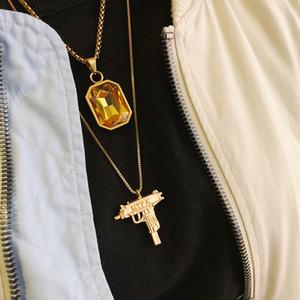 Collier de pierres précieuses Hip Hop Trendy Wild Street plaqué or rouge pendentif saphir hommes et femmes collier HFSSXL009