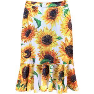 Mulheres Verão de Moda de Nova celebridade Sunflower Imprimir Mermaid Mulher saia Casual Customize Plus Size 3XS-10XL Fishtail Midi Saias