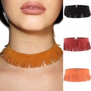 Женщины моды кожа Чокеры кисточкой ожерелье ручной работы Кожа Веревка Pearl ожерелье жемчужное ожерелье Природные