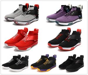 Cuero de lujo de la marca del amortiguador zoom UNVRS de baloncesto de zapatos para hombre del diseñador del sistema de las zapatillas de deporte Deportes FlyEase Negro Rojo Gris Hombres Trainer con la caja