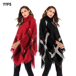 New European and American Irregular Plaid Tassel Cape Shawl Turtleneck Bat Sleeve Sweater