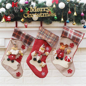 3 Styles New Arrival 2019 Christmas Stockings Decor Ornament Party Decorations Santa Christmas Stocking Candy Socks Bags Xmas Gifts Bag DHL