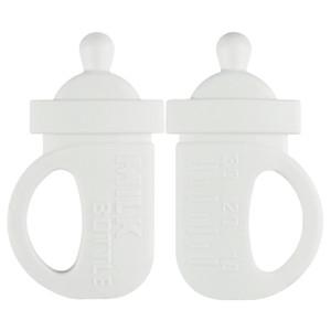 Beyaz Süt Şişe diş kaşıyıcınız Bebek Teething Oyuncak BPA Free Gıda Silikon Charms DIY Takı Çiğneme Hemşirelik kolye Chew