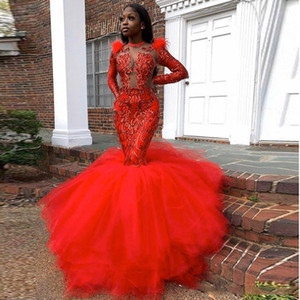 Red Mermaid Prom Dresses 2020 Long Sleeve Sequin Applique African Black Girls Evening Dress Tulle Sweep Train Party Gowns