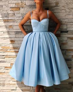 섹시 블루 새틴 차 길이 아프리카 나이지리아 파티 칵테일 드레스 Vestidos 드 fiesta 파티 공식적인 저녁 가운 2019