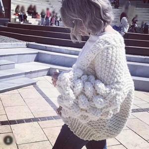 Suéter Lazy 3D BallsFloral ganchillo de mayor-Mujer Cardigan la mujer suéter mujeres sueltan de punto grueso de lana de manga farol Tire Femme Hiver
