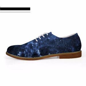 Повседневный кожа Customized моды Мужской обувь 3D Galaxy Space Star Печать Шнуровка Квартира Oxfords обувь для мужчин Оксфорд обуви 2019