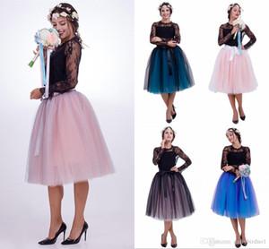 2019 Layers baratos Mulheres Tutu Saias Vinatge Tulle joelho CPA837 LengtWedding Vestidos Petticoat underskirts real Pictures dama shirt do desgaste